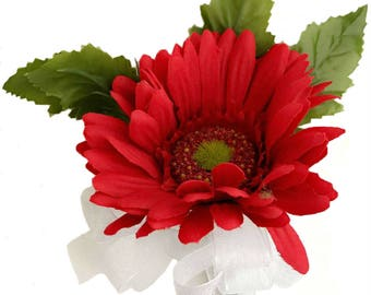 Red Silk Daisy Corsage - Wedding Corsage Prom