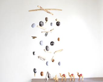 Driftwood Mobile with Felt Pebbles/Rocks/Stones -- Rustic Natural Hanging Home Decoration -- Grey, Brown, Beige, Dark Grey -- Ready to ship