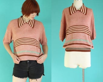 Vintage 70s Sweater - Summer Sweater - Striped Sweater - Short Sleeve Sweater - Oversized Salmon Pink and Rust Sweater - Size Large / XL