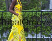 Yellow African Ankara Wax Print Wide Leg Jumpsuit