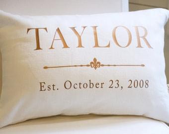 4th Wedding Anniversary Gift   Bronze Anniversary Gift   Linen Anniversary Pillow   Copper   Wedding Gift   Home Decor