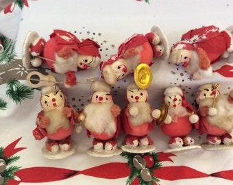 Vintage Cardboard Santa Band Lot Older Set of 9