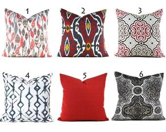Red Pillow Covers ANY SIZE Decorative Pillows Pillow Inserts Best Pillow Floor Pillows Euro Pillows Body Pillow Bedding Lumbar You Choose