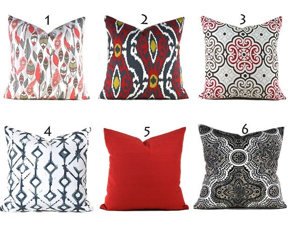 Red Pillow Covers ANY SIZE Decorative Pillows Pillow Inserts