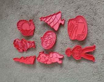 Vintage Plastic Cookie Cutters, Lot of 8