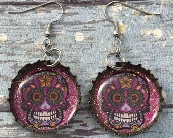 Day of the Dead, Dia de los Muertos, Sugar Skull Earrings, Recycled Bottle Caps, Repurposed Earrings, Bottle Cap Earrings, Recycled Jewelry
