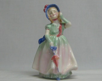Vintage Royal Doulton Figurine Babie HN 1679 Girl Wearing Pretty Hat Fingerless Gloves & Holding Parasol in Colorful Dress