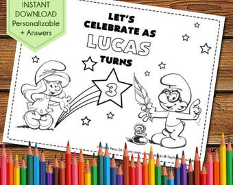 Smurfs Party Activity Book, Smurfs Birthday Party Favors, Smurfs Party Games, Smurfs Coloring Pages, Smurfette Party, Smurfs Printables
