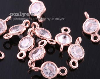 4pcs-10mmX5mmBright Rose Gold plated Brass 4mm with Cubic Zirconia connectors(K3471R)