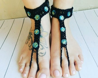 Black Barefoot Sandals, Boho Foot Jewelry, Footless Sandals, Barefoot Wedding Sandal, Beach Wedding, Bridesmaid gift, Black thongs Yoga