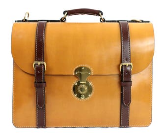 Tan Brown Bridle Classic leather lawyer briefcase, satchel, messenger bag, doctor, laptop, computer, men, professional women, ipad, made NY