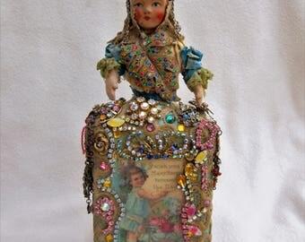 Altered Art Doll Bottle Birthday Wishes