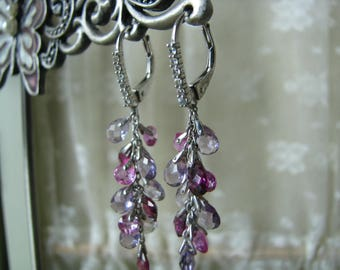 RESERVED For JANET Vintage Sterling Silver CZ Faceted Crystal Droplets Cluster Dangle Lever Back Earrings French Lever Backs