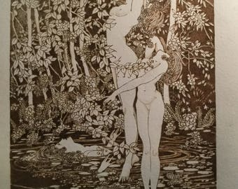 Ladies in the pond, Woodburn, pyrography, ladies, pond, illustration, artwork,
