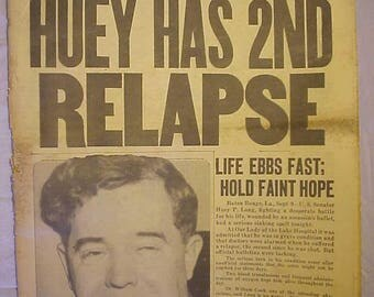 September 10, 1935 Daily Record Boston, Mass. with Huey P. Long Relapse cover ,has 32 pages of Sports and News