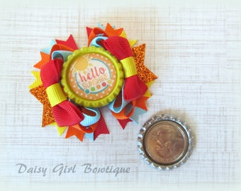 Hello Sunshine OTT Micro Mini Hair Bow-Summer Hair Bow-Stacked Hair Bow-M2M Twisted Boutique Hair Bow-Little Girls Hair Bows-Tiny Hair Bows.