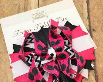 Black Pink and White Boutique Hairbow, Boutique Hairbow, Hairbow, Pink Hairbow
