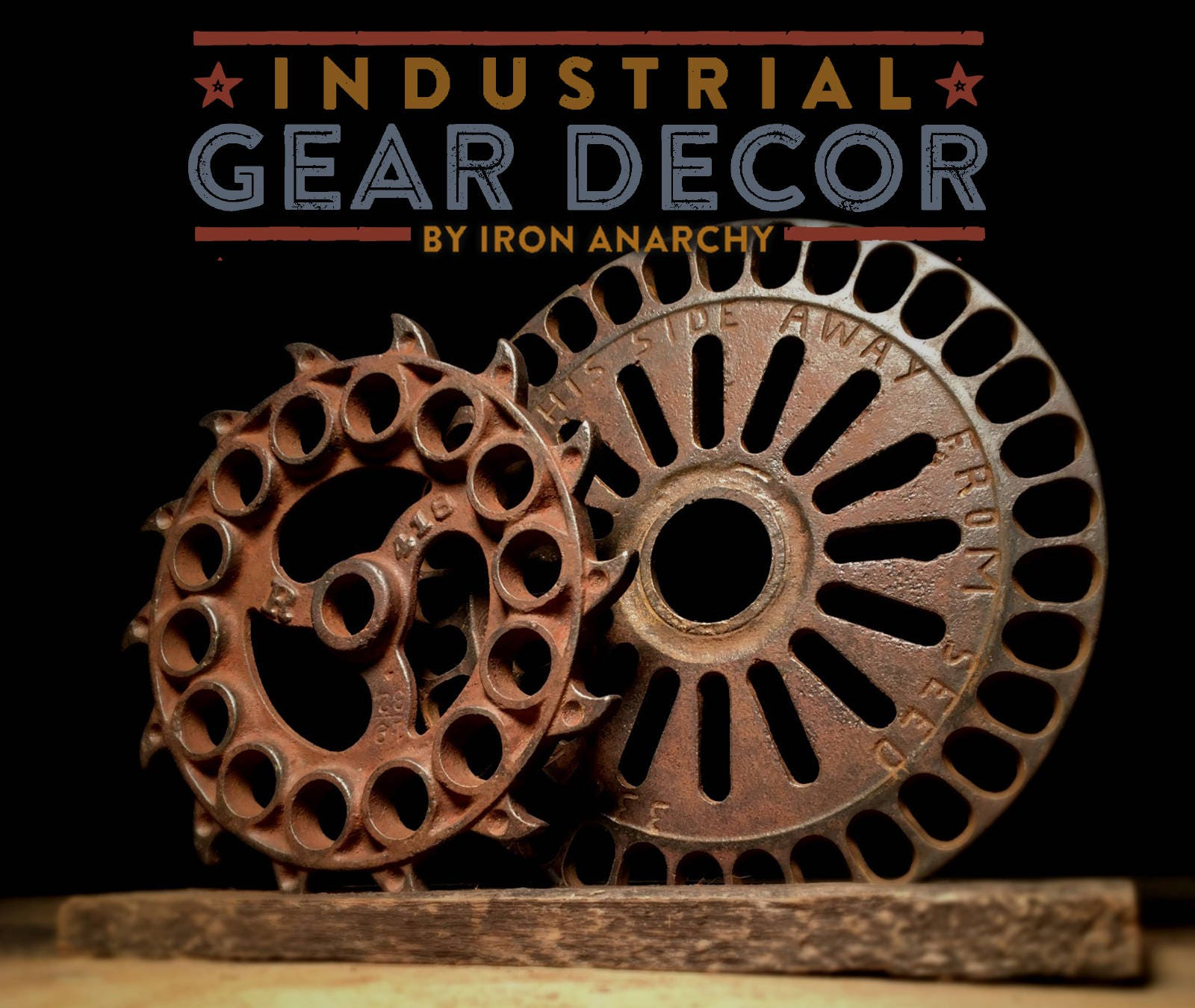 Industrial gear decor antique cast iron for Iron accents promo code