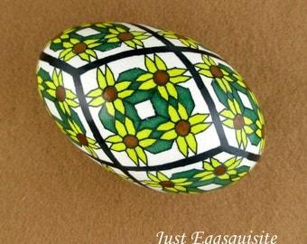 Pysanky Pisanki Ukrainian Polish Easter Egg Etched Sunflower Quilt Hand Decorated Goose Egg