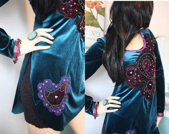 stretch velvet BOHEMIAN hand beaded DRESS/long top SEQUINS small/medium