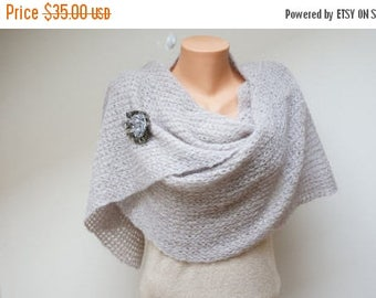 ON SALE Grey large angora knit wool shawl wrap scarf with flower brooch pin crochet handmade necklace neckwarmer pale pink ash stole extra l