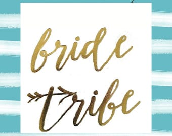 "bride tribe - set of 11 - temporary gOLD tattoo - 2"" x 2"" - bachelorette party -bridesmaid tattoo"