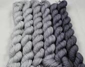 Gradient Yarn Set Greys Mini Set Reward Merino/Silk Fingering Weight Gradient Set Sock Yarn