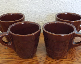 Vintage Marcrest Daisy Dot Diner Coffee Mugs Set of 4 Brown Stoneware
