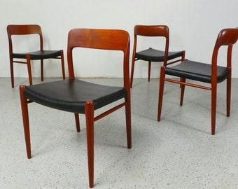 set 4 rare mid century Danish modern J.L Moller #75 teak black leather dining chairs