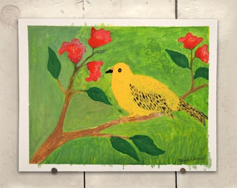 """Yellow Bird Original Art 11.5x9"""" One of a Kind 100% of the profits go directly to artists with disabilities Item 65 Maegan A."""