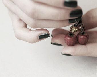 Enchanted Apple Earrings - Food Jewelry - Apple Earrings - Halloween - OOAK Earrings - Vegan - Autumn
