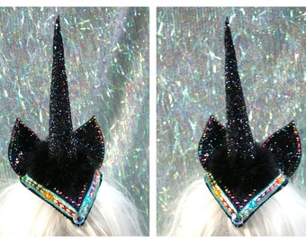 Black glitter unicorn horn with ears fascinator headdress - fairylove