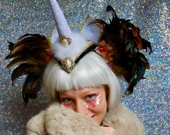 White and gold glitter unicorn horn with ears and feathers - headdress fascinator - fairylove