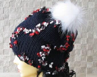 Parisian style, Winter Hat Kniited Beanie Hat, Knit Hat for Women Knit Pom Pom Hats Women, Navy Blue