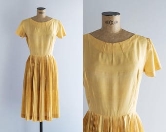 1950s Dress - Vintage 50s Yellow Silk Accordion Pleat Dress - Yema de Huevo Dress