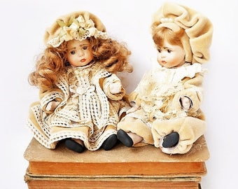 SALE Two Vintage Porcelain Bisque Dolls,Italian Dolls with Renaissance Dress,Collectible Porcelain Bisque Dolls, boy and girl dolls.