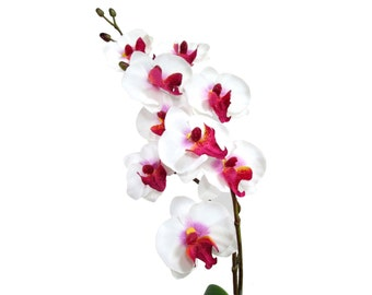 "17"" Artificial Silk Butterfly Phalaenopsis Orchid Flower Spray - White/Purple"