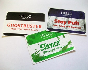 Ghostbusters Name Tag Stickers- Set of 3