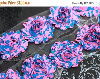 """Closed Out Sale 40% OFF Clearance 50 Percent off 2.5"""" NEON Shabby Rose Trim -  Pink with Blue Army - Chiffon Trim - Hair Accessories Supplie"""