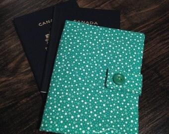 Passport Wallet, Passport Cover - 2 Passports - Green - White Circles
