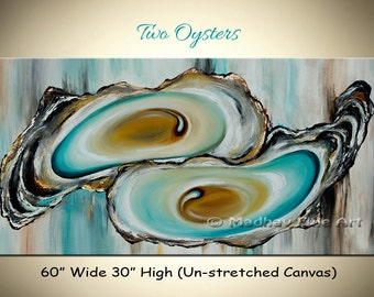 Large Abstract Oyster Painting, Coastal painting, Large painting on canvas, Wall art, Original painting, Size 60'' x 30''