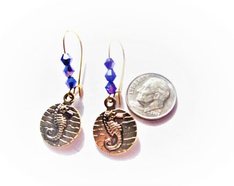 Seahorse Dangle Earrings, Antique Gold Medallion Earrings, Double Sided Earrings, Gold Kidney Wires, Blue Crystals, Ocean Inspired Jewelry