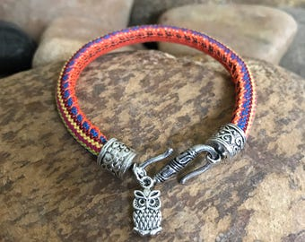 Woven cord colorful owl bracelet by bohemian earth designs