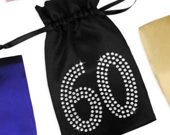 60th Birthday Satin Favor Bag with Rhinestones - 60th Birthday Party Favor, 60th Birthday Gift Ideas for Mother, 60th Birthday Goody Bag