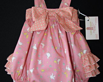 Ruffle romper bubble suit sunsuit 6 - 12 mos ready to ship spring summer Easter MADE in the USA