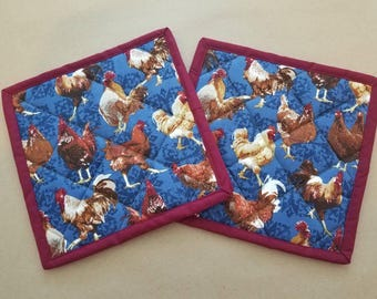Chicken Roosters Quilted Potholders, Set of 2, Country, Farmhouse, Insulated Trivets, Hot Pads, Country Kitchen Decor, Chook, Country Home