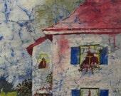 Cottage Landscape Painting Original Batik Art Watercolor on Japanese Rice Paper