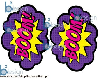 Superhero Signs • Boom, Pow, Zap, Bam, Pow • 1/2 page signs • GV1 color • Front to Back • INSTANT DOWNLOAD
