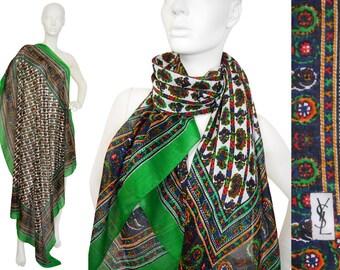 Yves Saint Laurent YSL Vintage XL Scarf Paisley Print Shawl Stole Wrap Mercerised Cotton Green