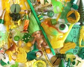 Green and Yellow Junk Drawer Findings with Vintage Cracker Jack Toys  Game Pieces  Dime Store Finds
